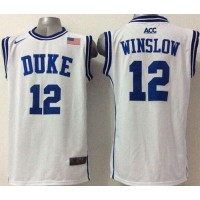Blue Devils #12 Justise Winslow White Basketball Stitched NCAA Jersey