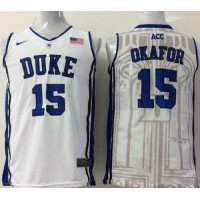 Blue Devils #15 Jahlil Okafor White Basketball Stitched NCAA Jersey