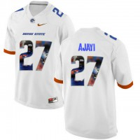Boise State Broncos #27 Jay Ajayi White With Portrait Print College Football Jersey2