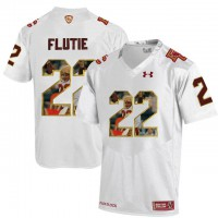 Boston College Eagles #22 Doug Flutie White With Portrait Print College Football Jersey