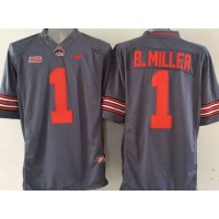 Buckeyes #1 Braxton Miller Grey Limited Stitched NCAA Jersey