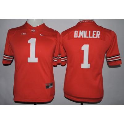 Buckeyes #1 Braxton Miller Red Women's Stitched NCAA Jersey