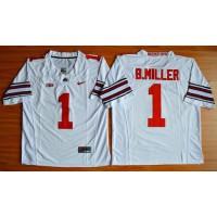 Buckeyes #1 Braxton Miller White Limited Stitched NCAA Jersey