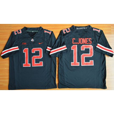 Buckeyes #12 Cardale Jones Black(Red No.) Limited Stitched NCAA Jersey
