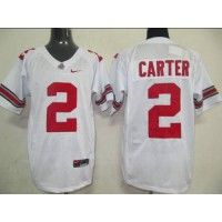 Buckeyes #2 Cris Carter White Stitched NCAA Jersey