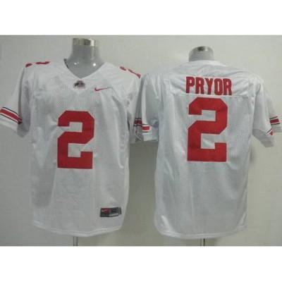 Buckeyes #2 Terrelle Pryor White Stitched NCAA Jersey
