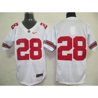 Buckeyes #28 Chris Wells White Stitched NCAA Jersey