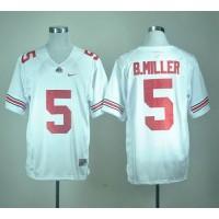 Buckeyes #5 Braxton Miller White Stitched NCAA Jersey