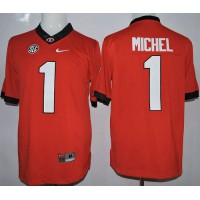 Bulldogs #1 Sony Michel Red Limited Stitched NCAA Jersey