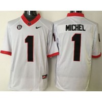 Bulldogs #1 Sony Michel White Limited SEC Patch Stitched NCAA Jersey