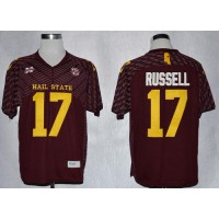 Bulldogs #17 Tyler Russell Maroon SEC Patch Stitched NCAA Jersey