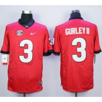 Bulldogs #3 Todd Gurley II Red SEC Patch Stitched NCAA Jersey