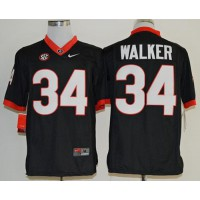 Bulldogs #34 Herschel Walker Black Limited SEC Patch Stitched NCAA Jersey