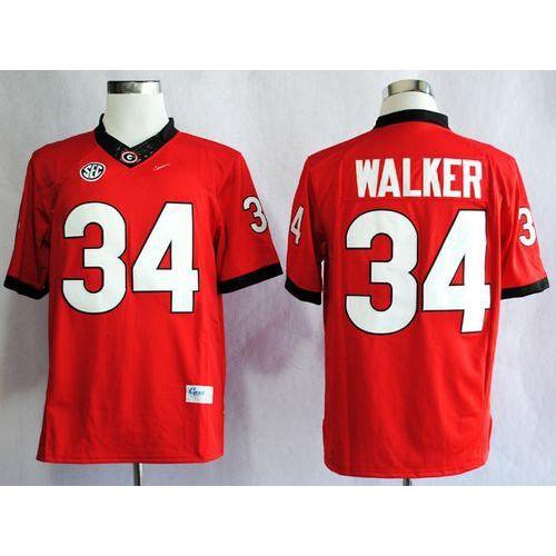Bulldogs  34 Herschel Walker Red SEC Patch Stitched NCAA Jersey d3337a9ef