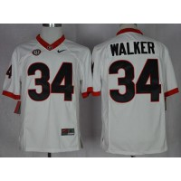 Bulldogs #34 Herschel Walker White Limited SEC Patch Stitched NCAA Jersey