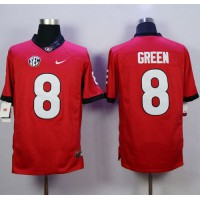 Bulldogs #8 A.J. Green Red Stitched NCAA Jersey