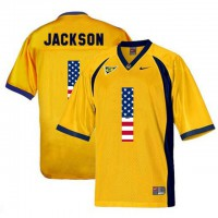 California Golden Bears #1 DeSean Jackson Gold USA Flag College Football Jersey