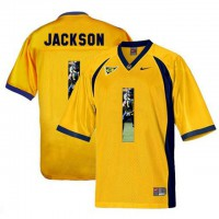 California Golden Bears #1 DeSean Jackson Gold With Portrait Print College Football Jersey