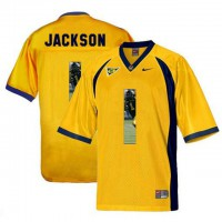 California Golden Bears #1 DeSean Jackson Gold With Portrait Print College Football Jersey2