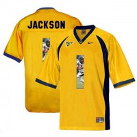 California Golden Bears #1 DeSean Jackson Gold With Portrait Print College Football Jersey3