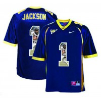 California Golden Bears #1 DeSean Jackson Navy With Portrait Print College Football Jersey2