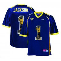 California Golden Bears #1 DeSean Jackson Navy With Portrait Print College Football Jersey3