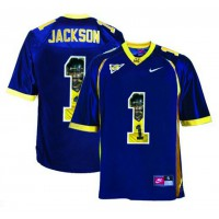 California Golden Bears #1 DeSean Jackson Navy With Portrait Print College Football Jersey4