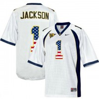 California Golden Bears #1 DeSean Jackson White USA Flag College Football Jersey