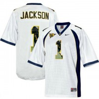California Golden Bears #1 DeSean Jackson White With Portrait Print College Football Jersey2