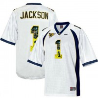 California Golden Bears #1 DeSean Jackson White With Portrait Print College Football Jersey3
