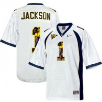 California Golden Bears #1 DeSean Jackson White With Portrait Print College Football Jersey5