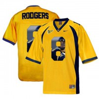 California Golden Bears #8 Aaron Rodgers Gold With Portrait Print College Football Jersey