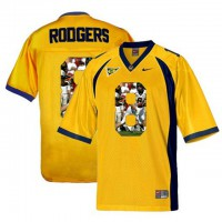 California Golden Bears #8 Aaron Rodgers Gold With Portrait Print College Football Jersey2