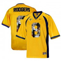 California Golden Bears #8 Aaron Rodgers Gold With Portrait Print College Football Jersey3