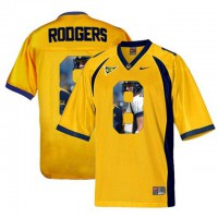 California Golden Bears #8 Aaron Rodgers Gold With Portrait Print College Football Jersey4