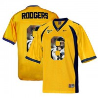 California Golden Bears #8 Aaron Rodgers Gold With Portrait Print College Football Jersey5