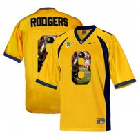 California Golden Bears #8 Aaron Rodgers Gold With Portrait Print College Football Jersey6