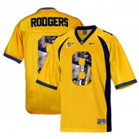 California Golden Bears #8 Aaron Rodgers Gold With Portrait Print College Football Jersey9