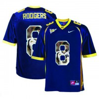 California Golden Bears #8 Aaron Rodgers Navy With Portrait Print College Football Jersey