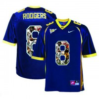 California Golden Bears #8 Aaron Rodgers Navy With Portrait Print College Football Jersey2
