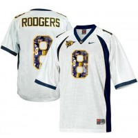 California Golden Bears #8 Aaron Rodgers White With Portrait Print College Football Jersey4