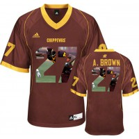 Central Michigan Chippewas #27 Antonio Brown Red With Portrait Print College Football Jersey