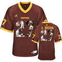 Central Michigan Chippewas #27 Antonio Brown Red With Portrait Print College Football Jersey4