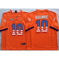 Clemson Tigers #10 Ben Boulware Orange USA Flag College Jersey