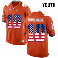 Clemson Tigers #10 Ben Boulware Orange USA Flag Youth College Football Jersey