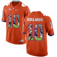 Clemson Tigers #10 Ben Boulware Orange With Portrait Print College Football Jersey