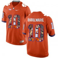 Clemson Tigers #10 Ben Boulware Orange With Portrait Print College Football Jersey2