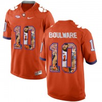 Clemson Tigers #10 Ben Boulware Orange With Portrait Print College Football Jersey3