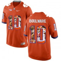 Clemson Tigers #10 Ben Boulware Orange With Portrait Print College Football Jersey4