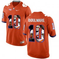 Clemson Tigers #10 Ben Boulware Orange With Portrait Print College Football Jersey5
